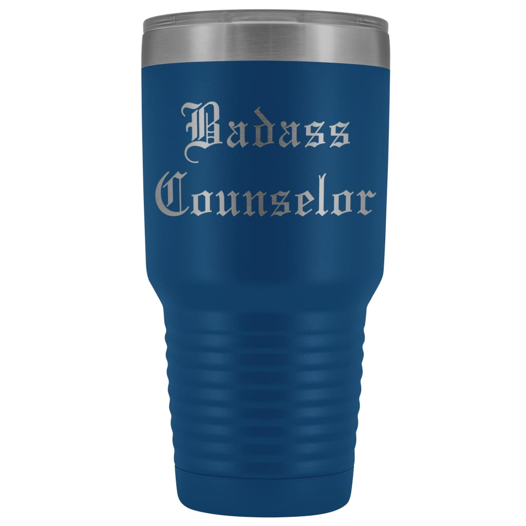 Unique Counselor Gift: Personalized ''Badass Counselor'' Teacher Thank You Gift Idea Old English Insulated Tumbler 30 oz
