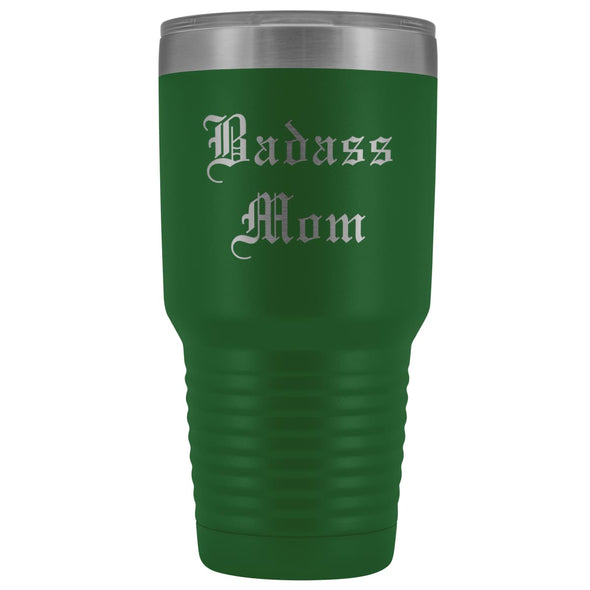 Unique Mom Gift: Old English Badass Mom Birthday Christmas Insulated Tumbler 30oz $38.95 | Green Tumblers