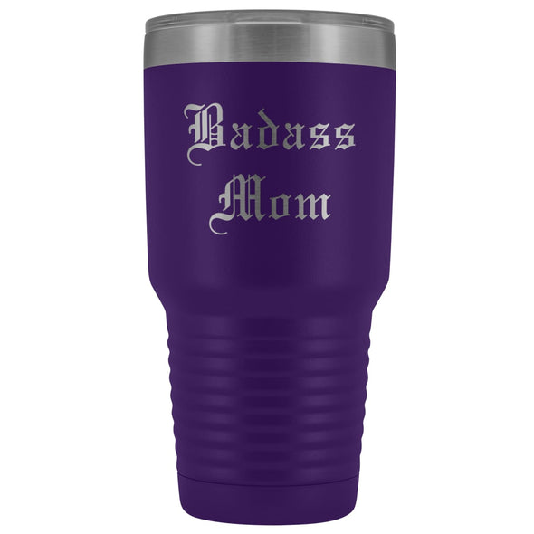 Unique Mom Gift: Old English Badass Mom Birthday Christmas Insulated Tumbler 30oz $38.95 | Purple Tumblers