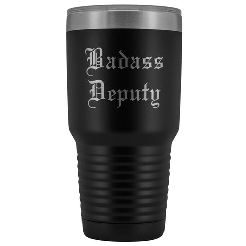 Unique Sheriff Deputy Gift: Personalized Badass Deputy County Sheriff Police Officer Gift Idea Old English Insulated Tumbler 30 oz $38.95 |