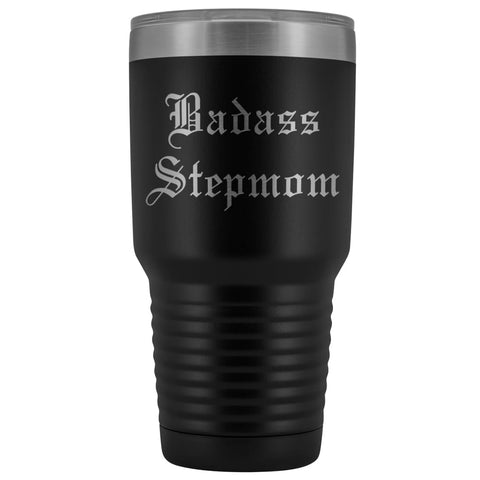 Unique Step Mom Gift: Personalized Old English Badass Stepmom Mothers Day Insulated Tumbler 30 oz $38.95 | Black Tumblers