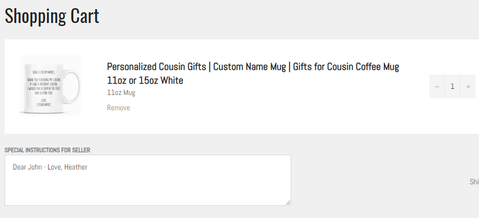 Custom Name Mug Instructions