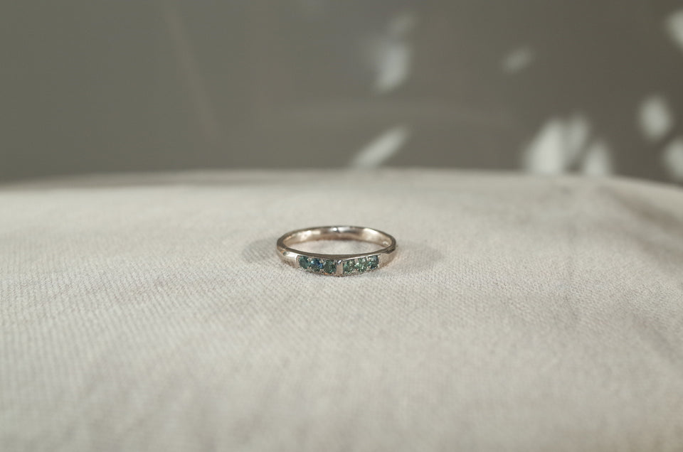 18 karat White Gold + Green Sapphire Crescent Peak Ring