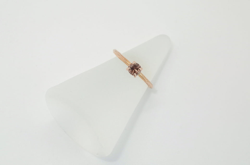18 karat Rose Gold Knife Edge + Zircon Ring