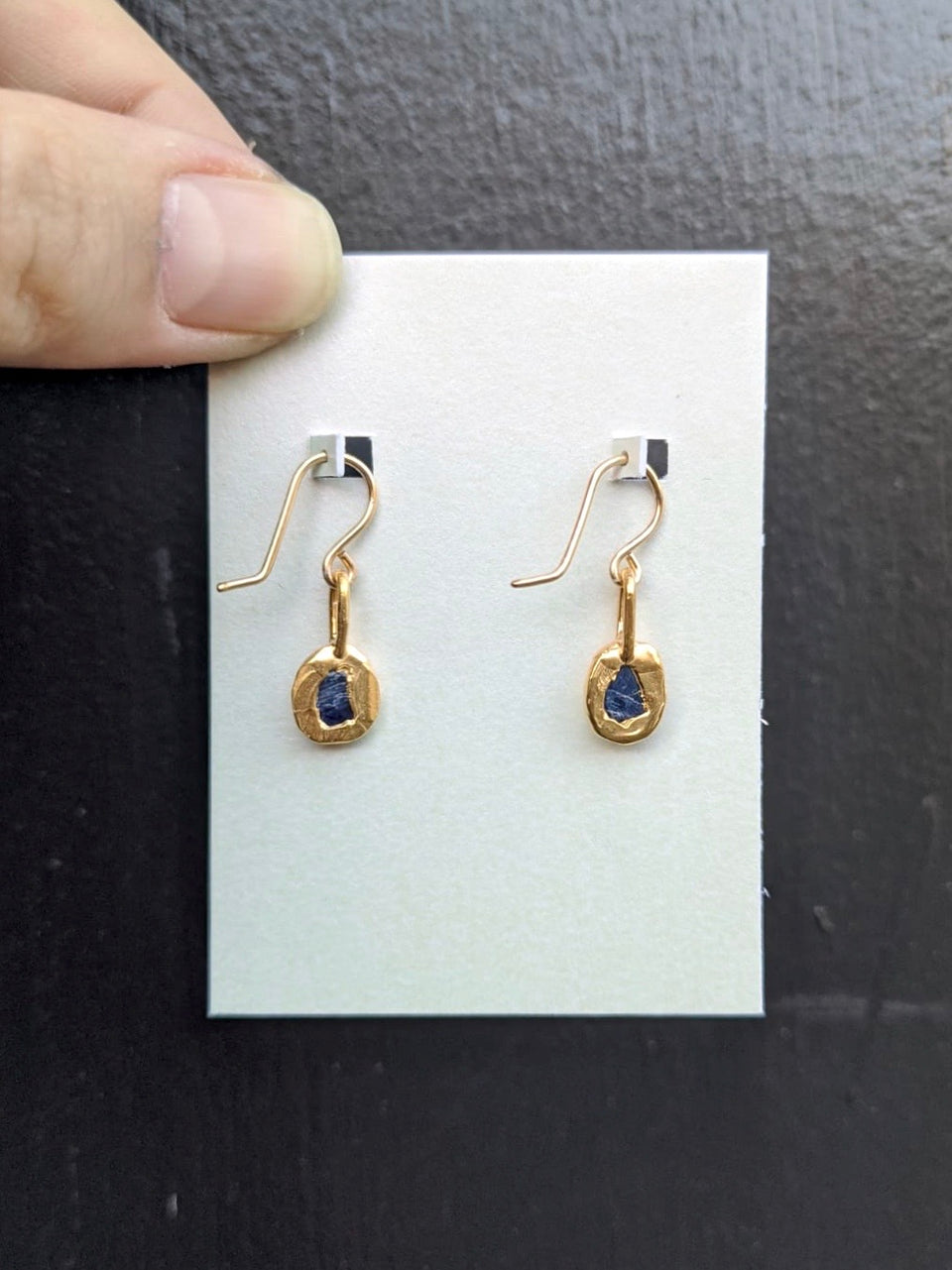Rough Sapphire Slice Earrings