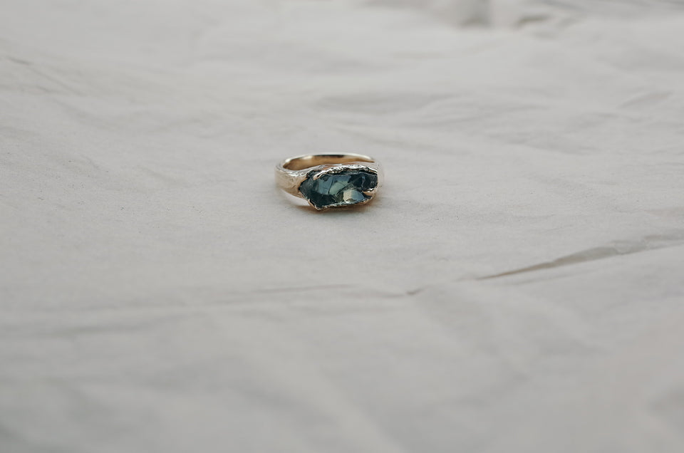 Single Facet Rough Sapphire Ring