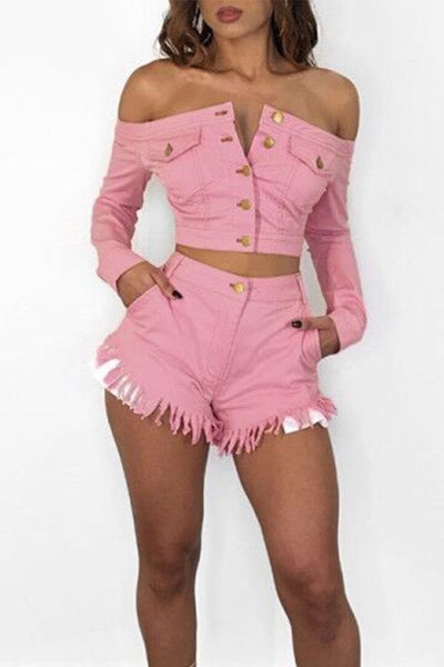 Pink Denim Shorts Set