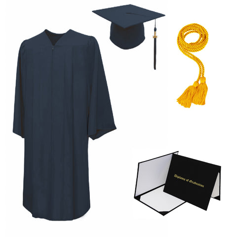 Matte Cap, Gown, Tassel, Honor Cord, Diploma Cover Package