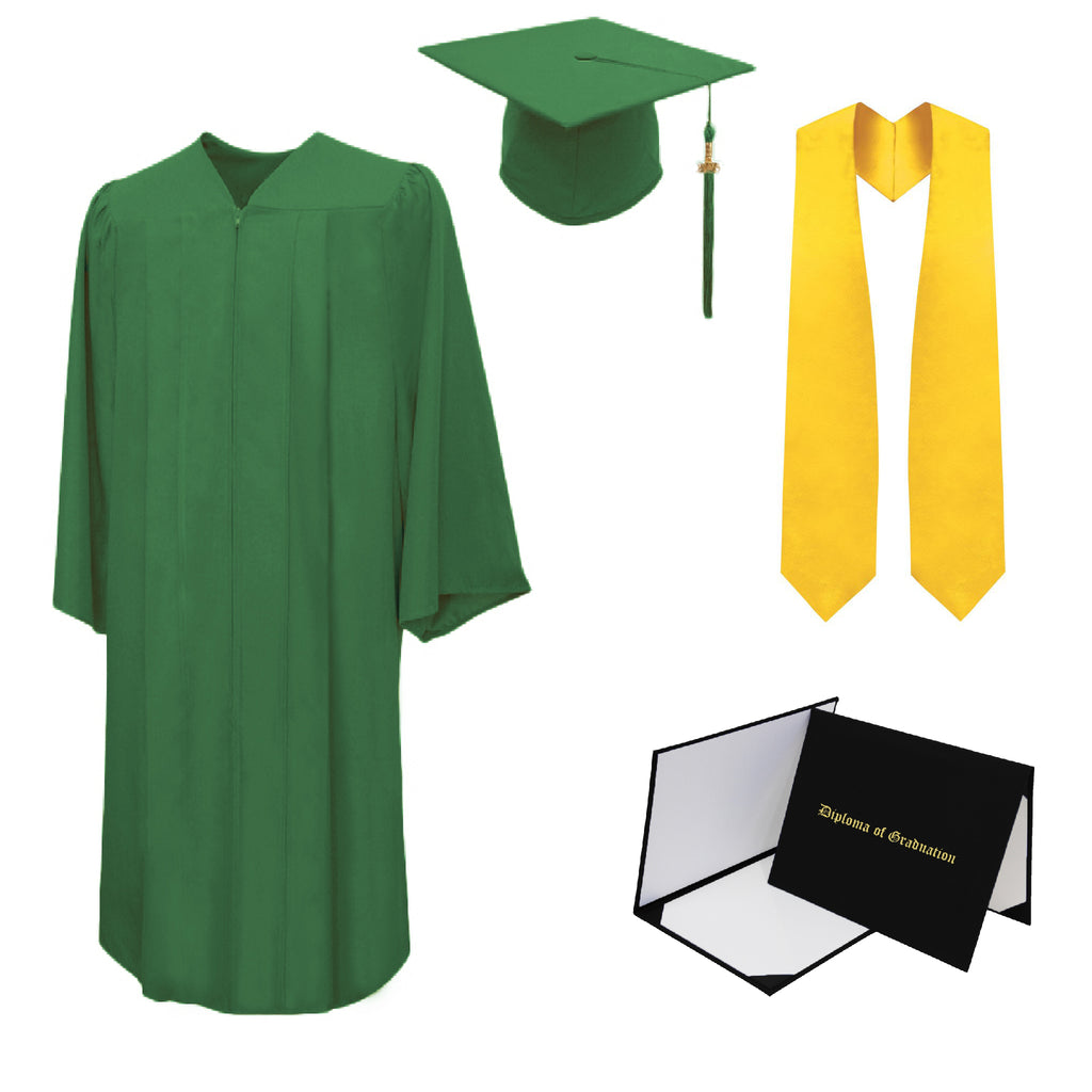 Matte Cap, Gown, Tassel, Stole, Diploma Cover Package