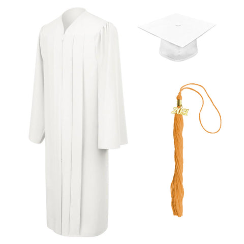 Matte White Graduation Cap, Gown and Tassel
