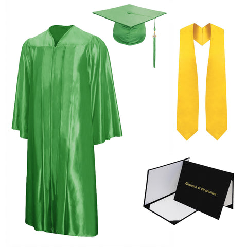 Shiny Cap, Gown, Tassel, Stole, Diploma Cover Package