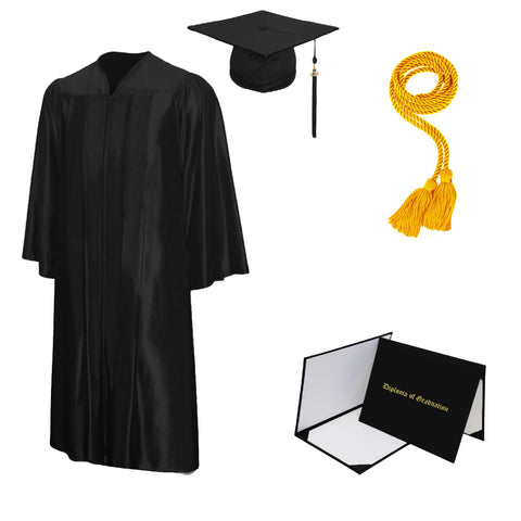 Shiny Cap, Gown, Tassel, Honor Cord, Diploma Cover Package