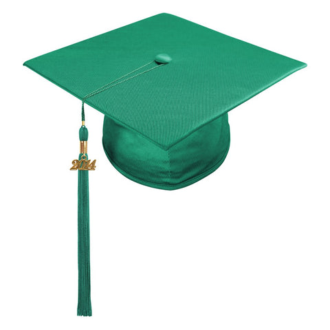 Shiny Emerald Green High School Cap & Tassel