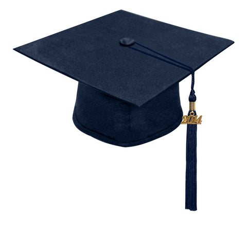 Matte Navy Blue High School Cap & Tassel