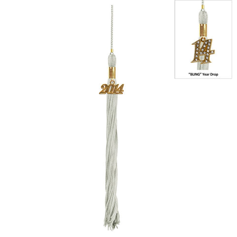 Shiny Silver High School Cap & Tassel