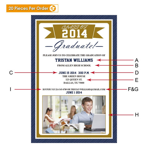 Picture Ribbon High School Graduation Announcement