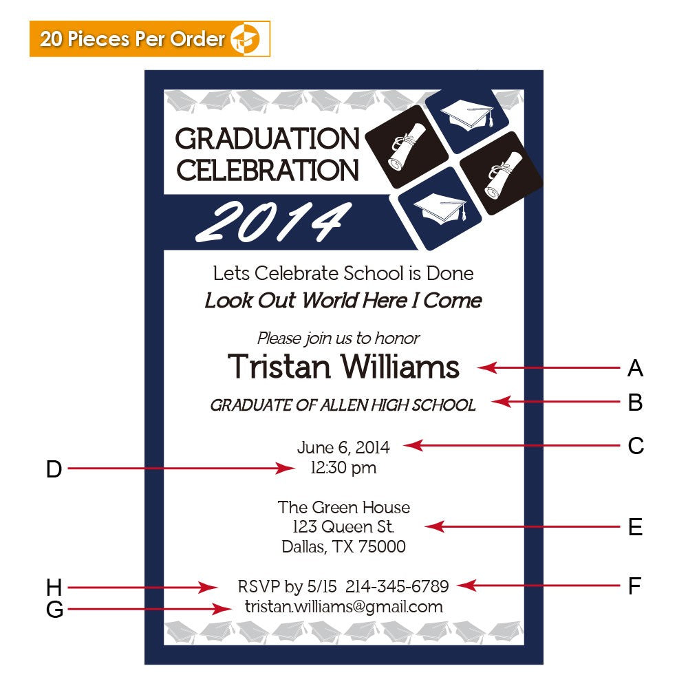 Navy Blue High School Graduation Announcement