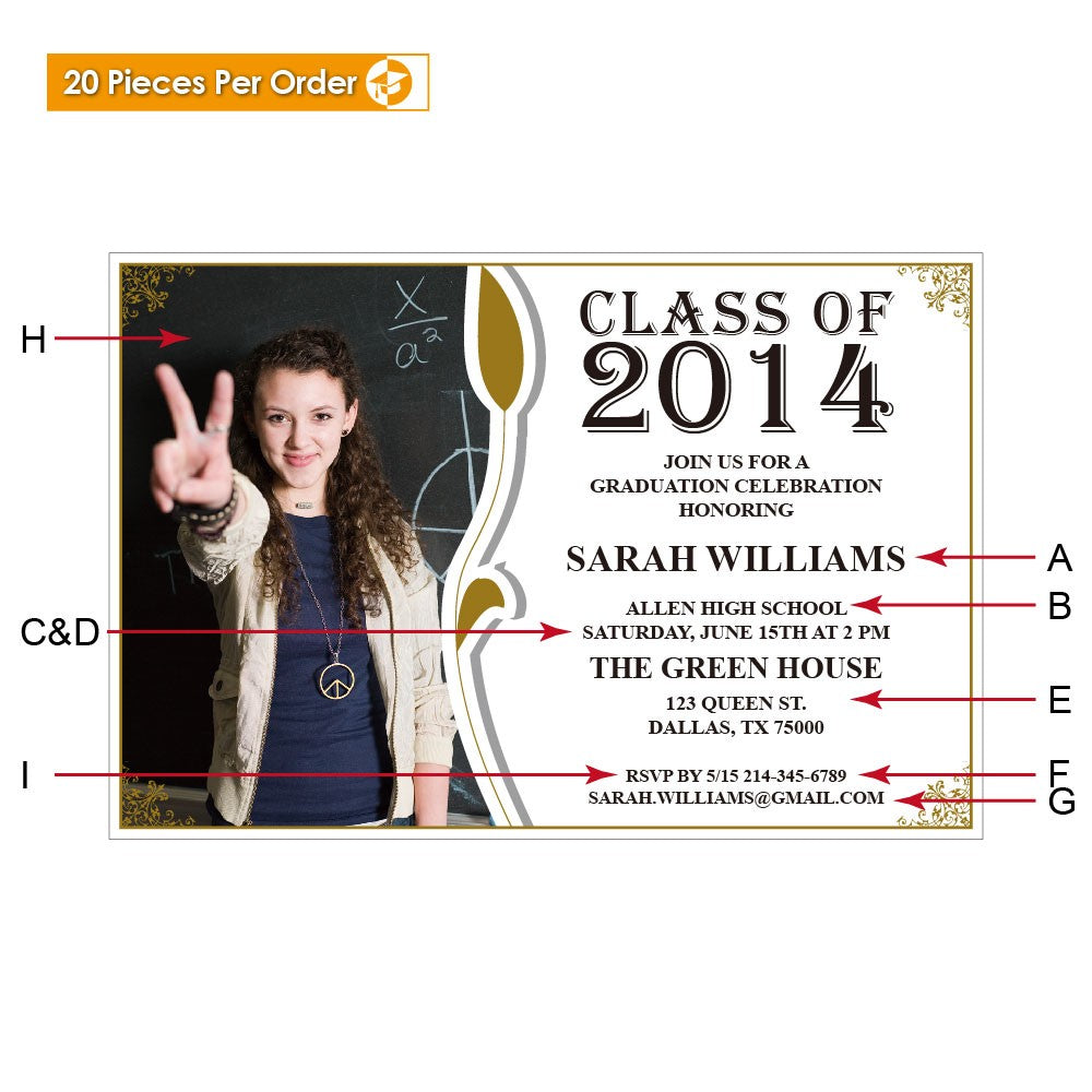 Picture Leaf High School Graduation Announcement