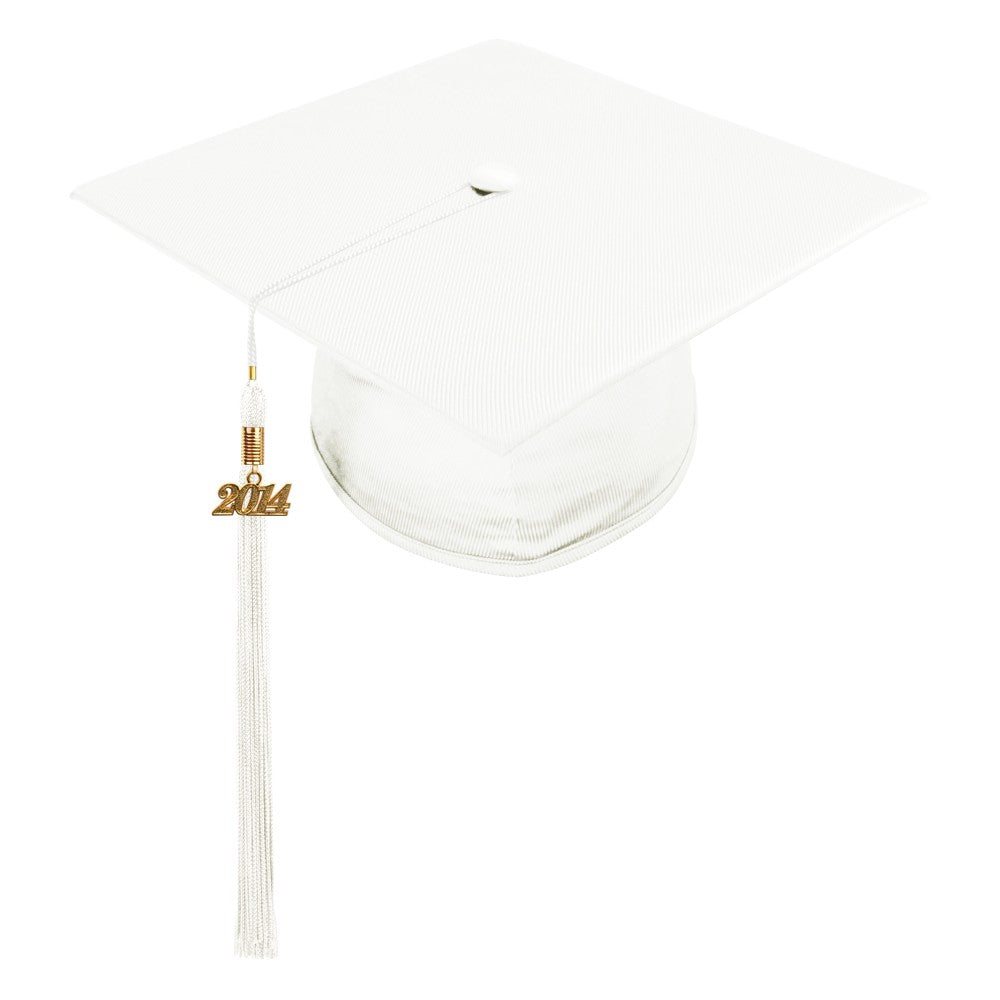 Shiny White High School Cap & Tassel