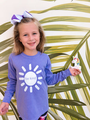 be kind sunshine long sleeve tee - violet