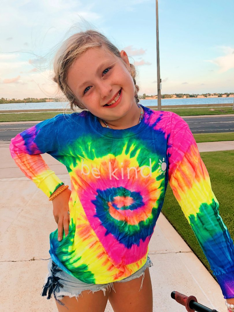 be kind long sleeve tee - rainbow swirl tie dye
