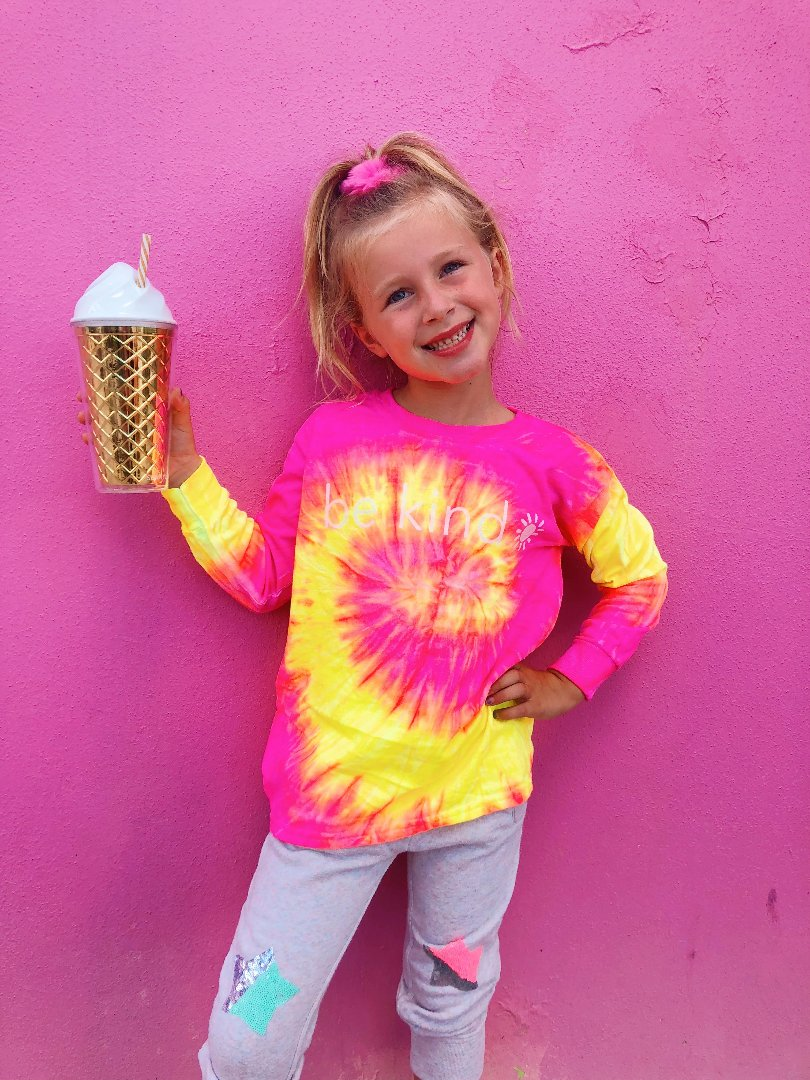 be kind long sleeve tee - pink & yellow tie dye