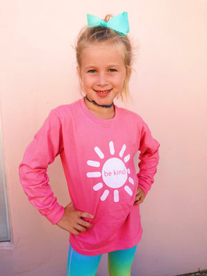 be kind sunshine long sleeve tee - pink
