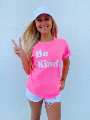 be kind tee - neon pink