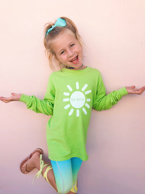 be kind sunshine long sleeve tee - lime