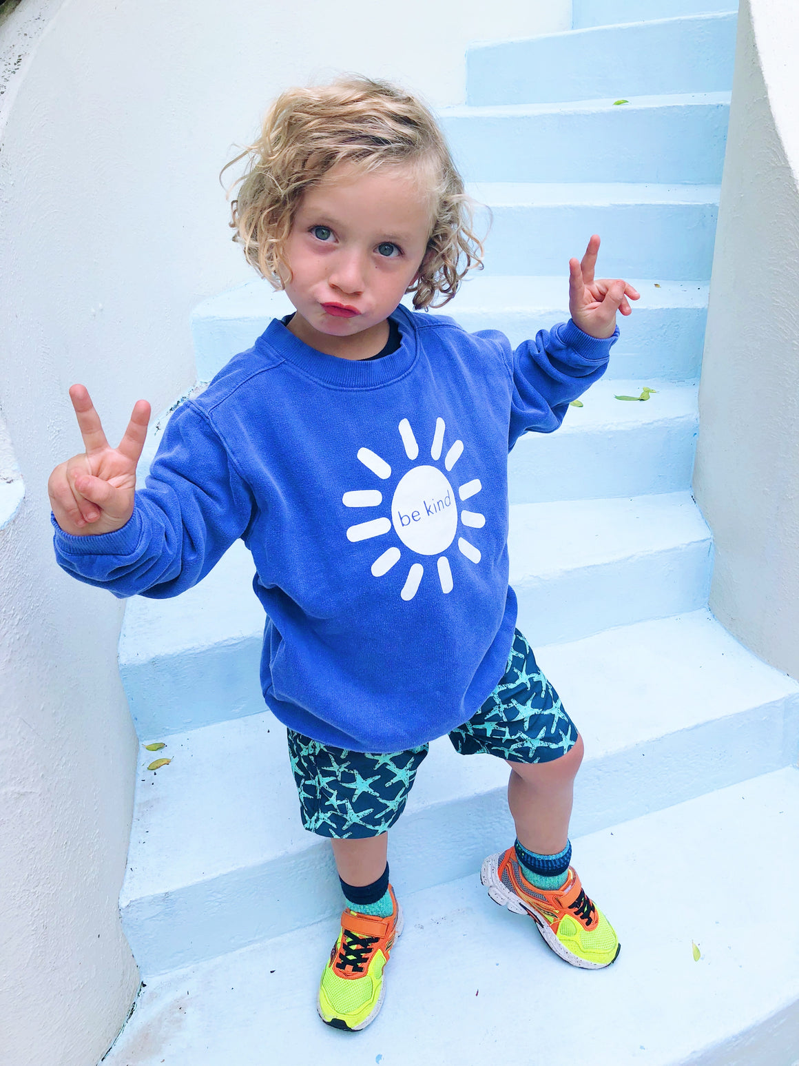be kind sunshine sweatshirt - blue
