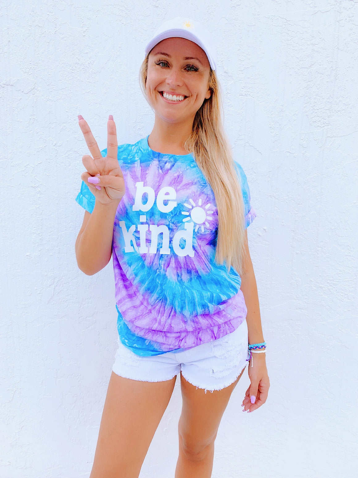 be kind tee - lavender & blue tie dye