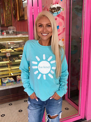 be kind sunshine long sleeve tee - chalky mint
