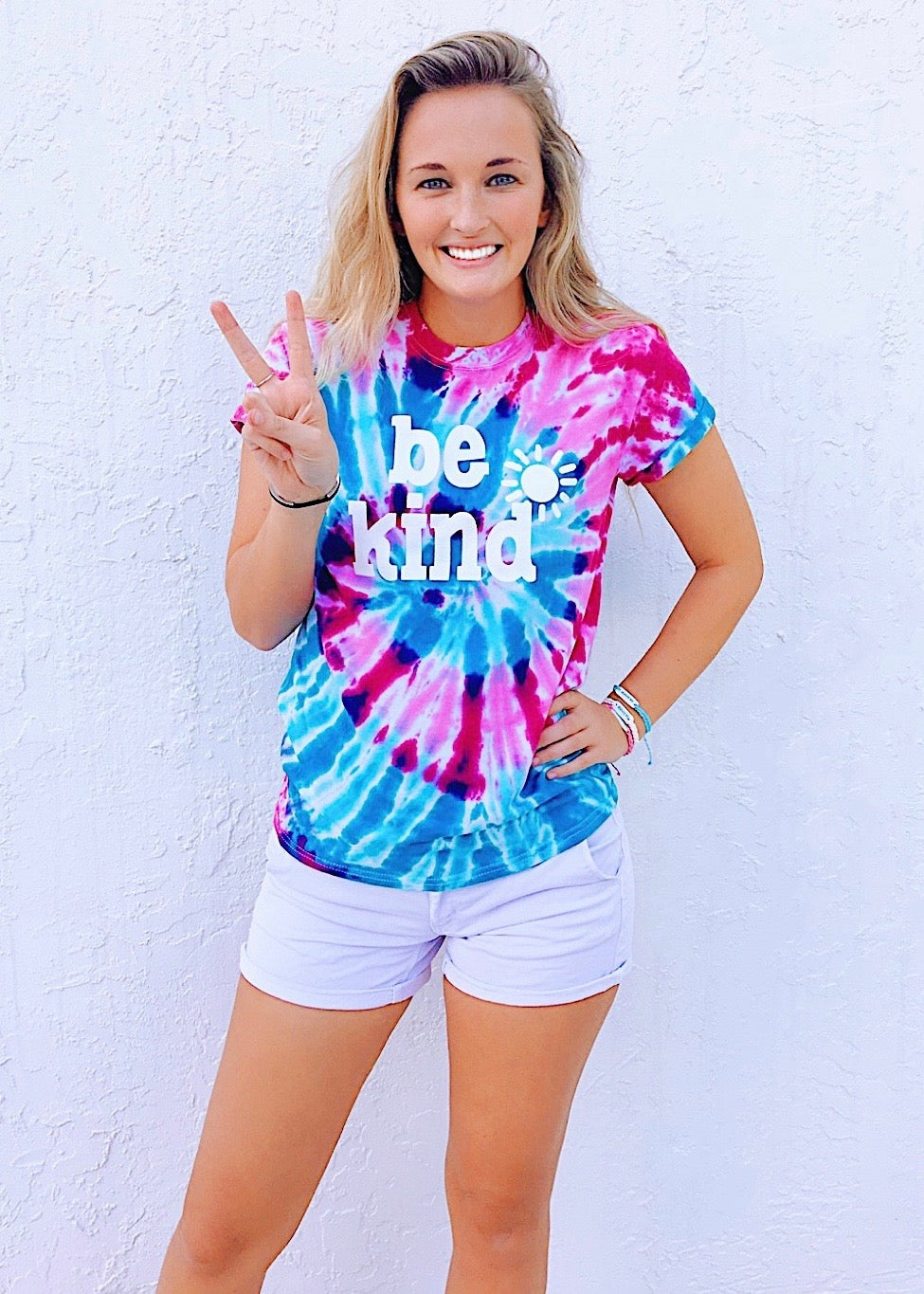be kind tee - pink & blue tie dye