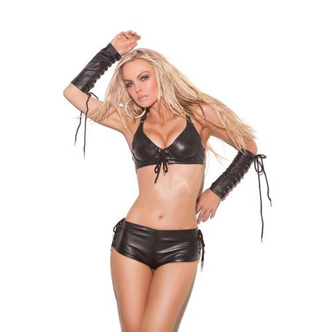 LEATHER SHORTS WITH LACE UP SI