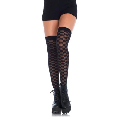 Sheer Checkerboard Thigh Highs - One Size