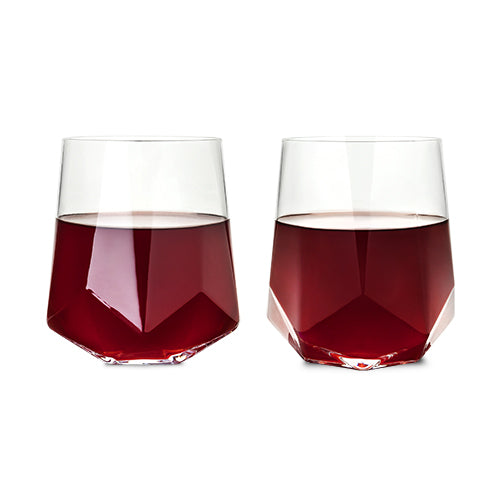 Raye Faceted Crystal Wine Glass - Set of 2