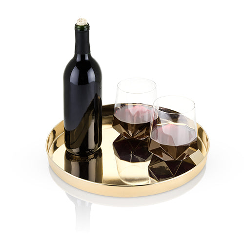 Make entertaining a stunning experience with the Belmont Gold Serving Tray by Viski