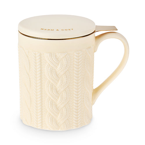 Annette Knit Ceramic Tea Mug & Infuser by Pinky Up
