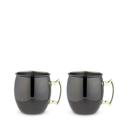 Black Moscow Mule Mug with Gold Handle by True - 2 Mugs