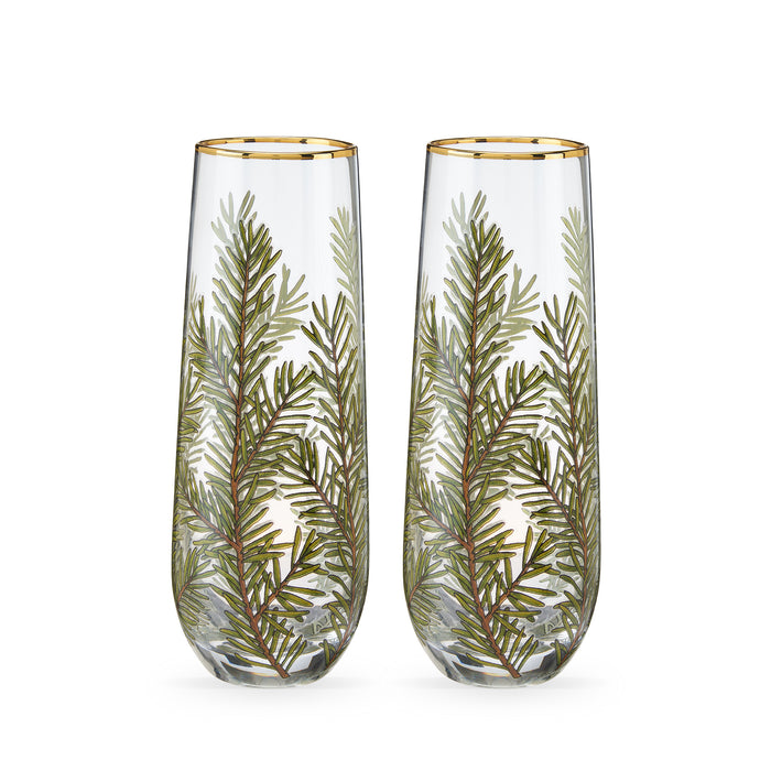Woodland Stemless Champagne Flute Set by Twine®