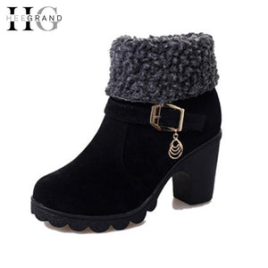 HEE GRAND Women Ankle Boots Platform Winter Boots