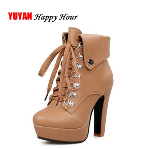 New 2018 Autumn Winter Shoes Women Winter Boots Fashion High Heels Boots Women's Boots Ladies Brand Botas Super Heel 12cm ZH2332