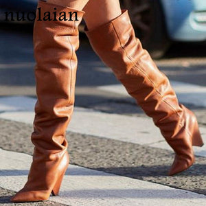 Copy of 9CM High Heels Thigh high Boots Shoes Women Faux Fur Winter Snow Shoe Woman Black Leather Over The Knee Boots Long Winter boot