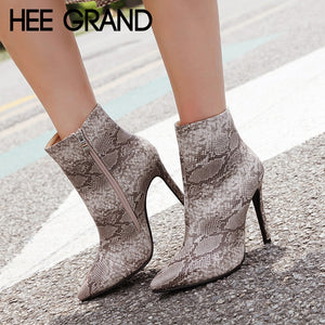 Snake Solid Color Winter Boots Sexy Ankle Boots