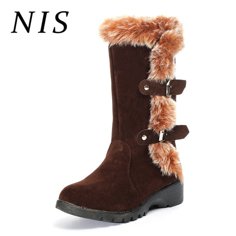 Mid-calf Snow Fur-lined Boots Faux Suede Winter Boots