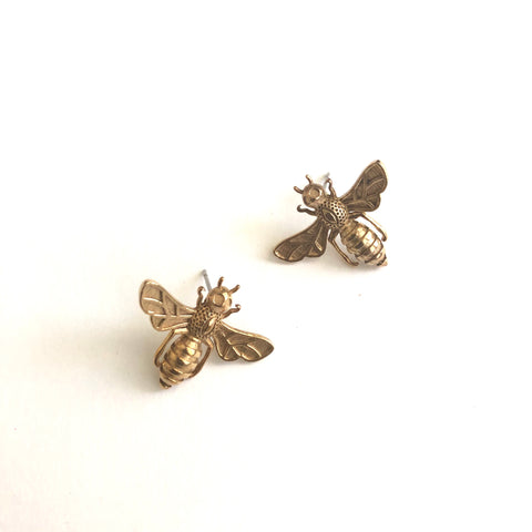 Brass Honeybee Studs