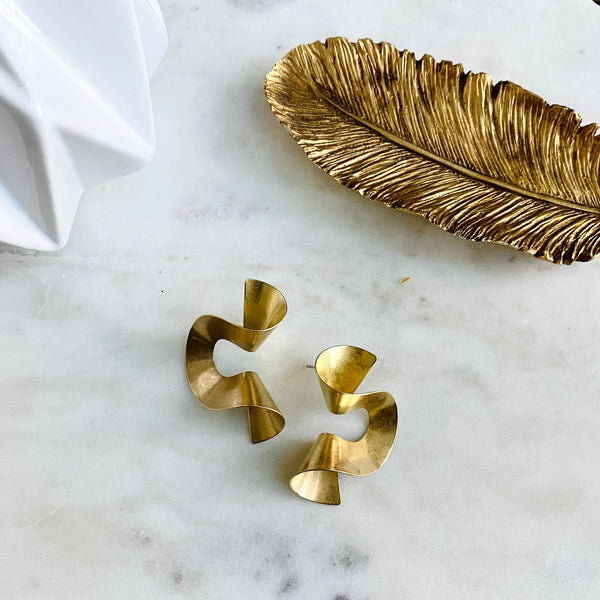 Modern Brass Earrings