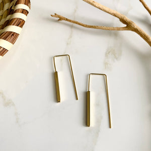 18K Gold Filled Brass Cube Earrings