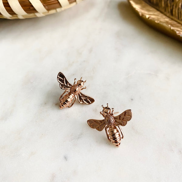 Rose Gold Honeybee Studs