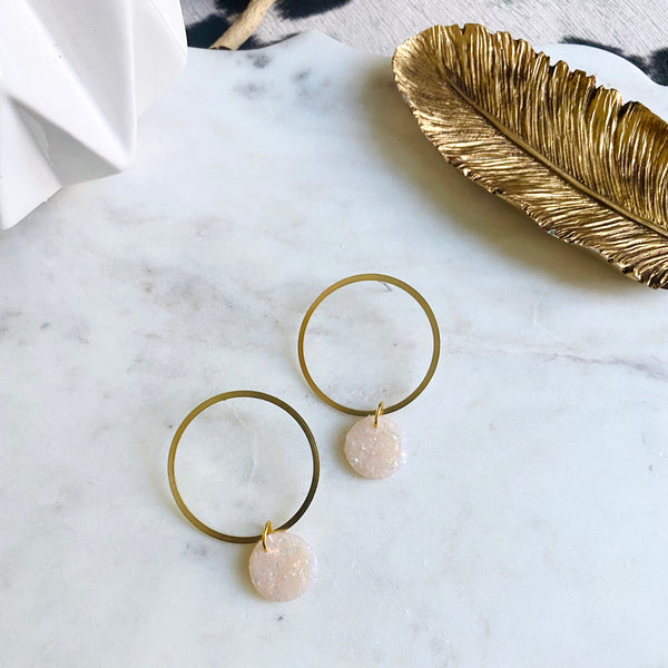 Sparkle Clay + Brass Hoops